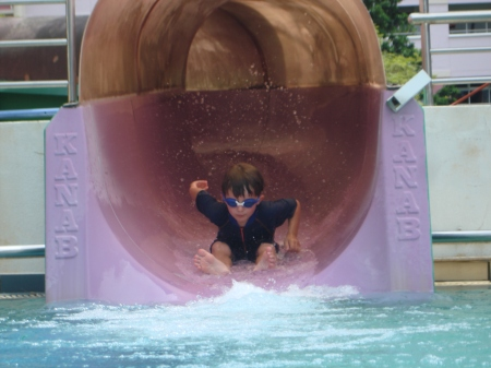 Nicky on his first Big Waterslide!