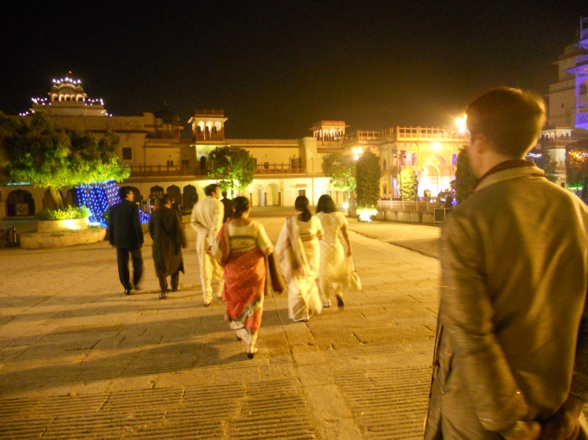 Strolling into City Palace grounds.  All lit up for the wedding pre-dinner party.